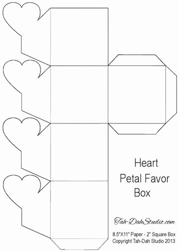 Gift Box Template Printable New Petal Gift Favor Gable Box Party Heart Hearts Printable