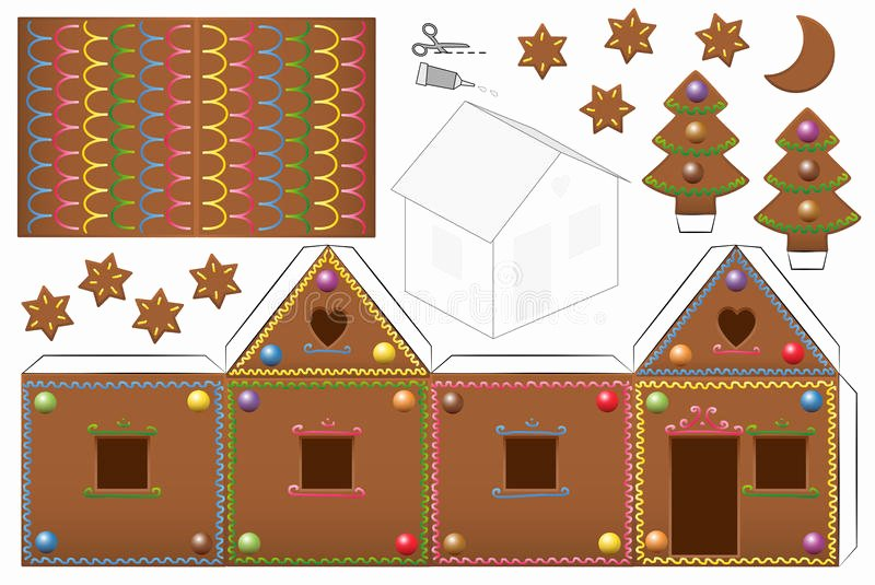 Gingerbread House Cut Out Inspirational Gingerbread House Can S Paper Model Stock Vector