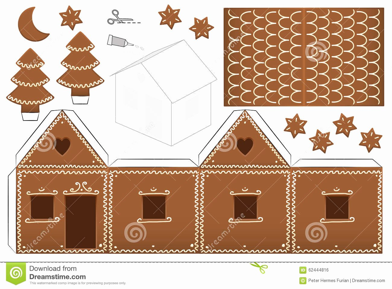 Gingerbread House Cut Out Inspirational Gingerbread House Paper Model Stock Vector Illustration