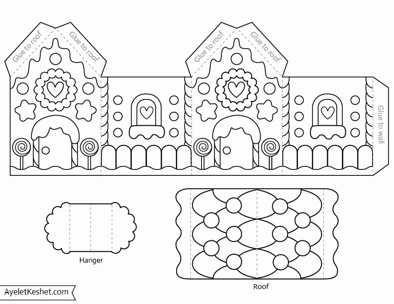 Gingerbread House Cut Out Inspirational Printable Gingerbread House Template to Color Ayelet Keshet