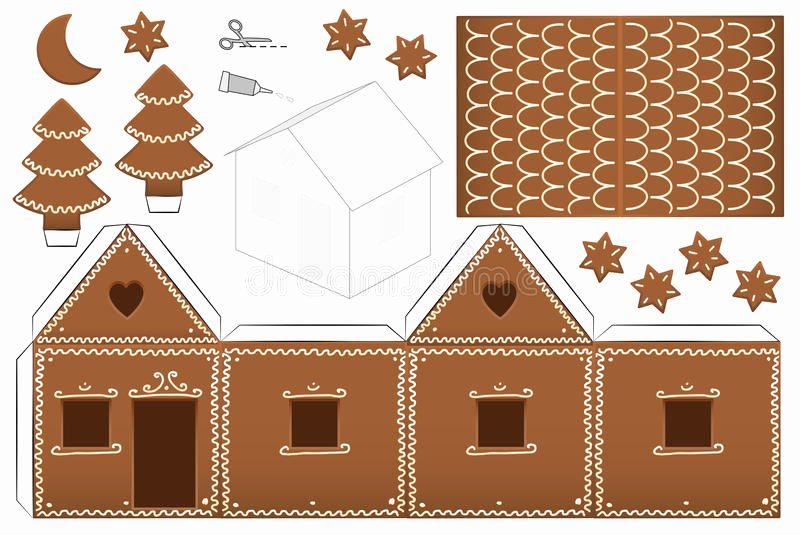 Gingerbread House Cut Out New Gingerbread House Paper Model Stock Vector Illustration