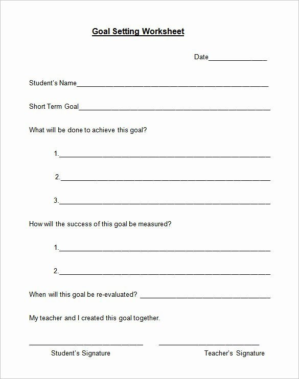 Goal Setting Template Awesome Goal Setting Template