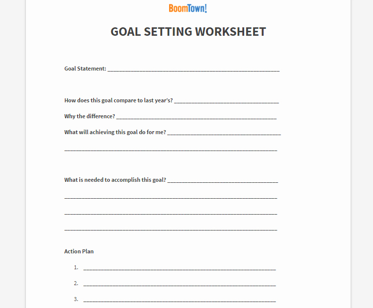 Goal Setting Template New Goal Setting Archives Boomtown