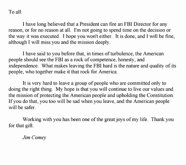 Goodbye Note to Coworkers Elegant James Ey Farewells Fbi Staff and Colleagues In Letter