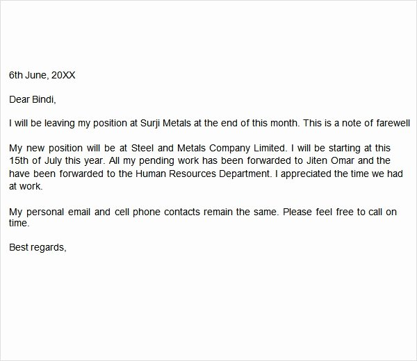 Goodbye Note to Coworkers Inspirational Farewell Letter 7 Free Doc Download