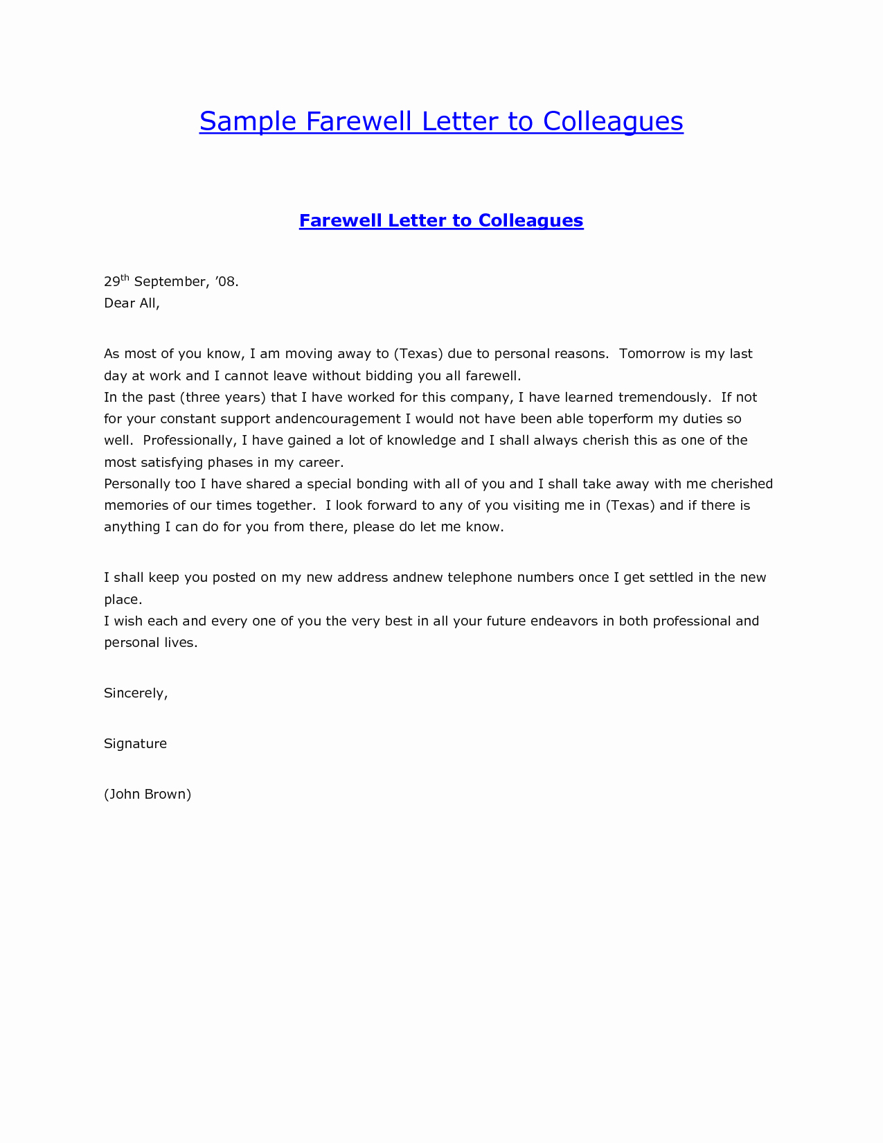 Goodbye Note to Coworkers Luxury Sample Farewell Letter to Colleaguesgoodbye Letter formal