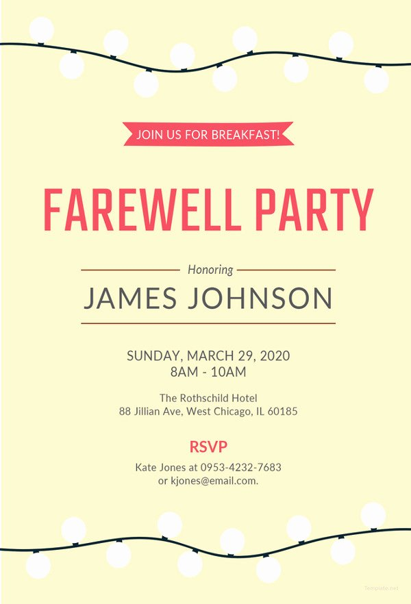 Goodbye Party Invitation Wording Awesome Farewell Party Invitation Template 29 Free Psd format