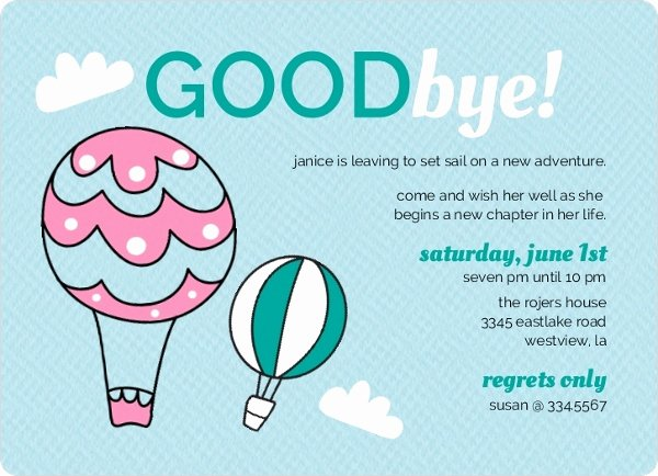 Goodbye Party Invitation Wording Luxury Hot Air Balloons Farewell Party Invite
