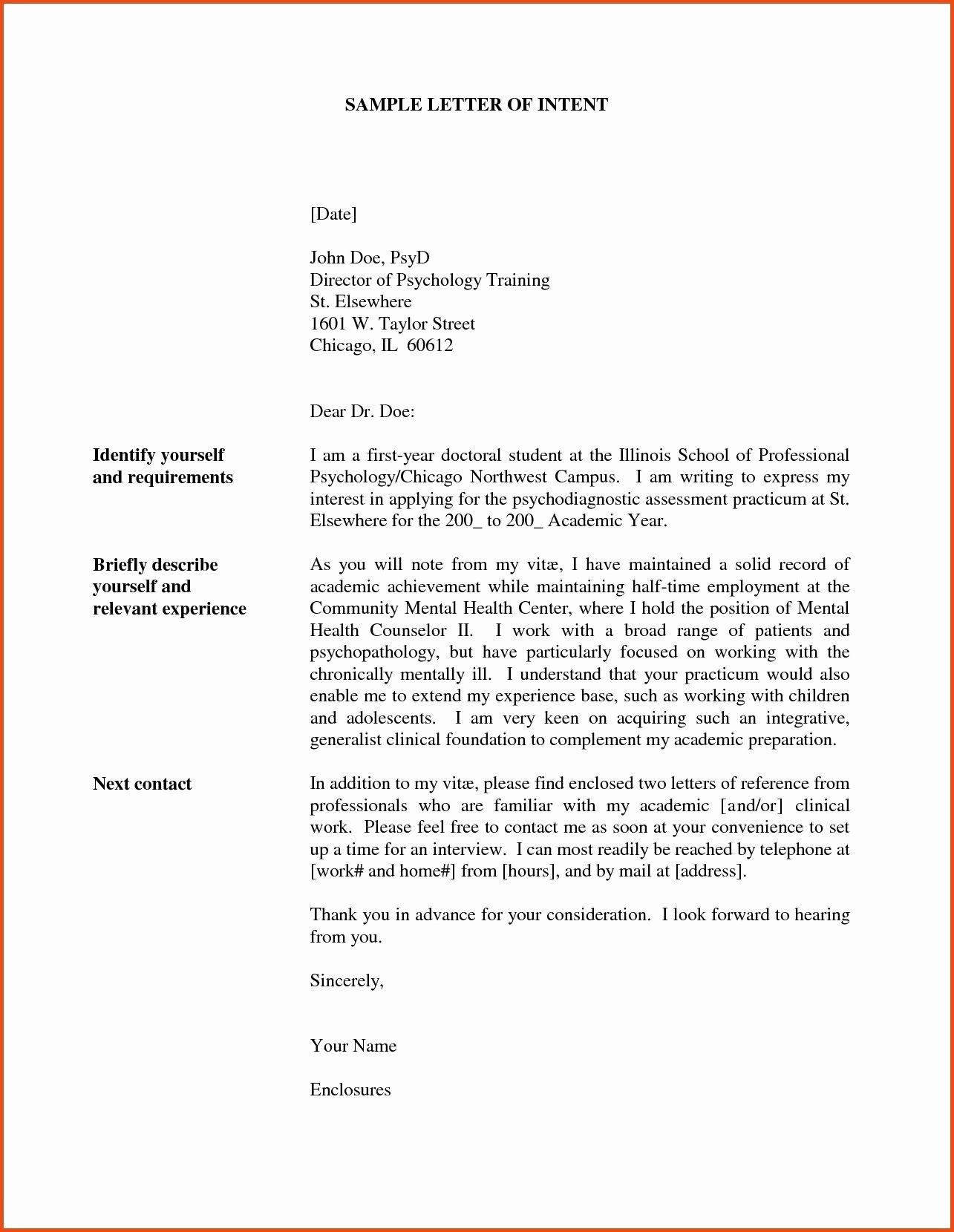 Graduate Letter Of Intent Sample Fresh Sample Statement Purpose for Graduate School Pdf