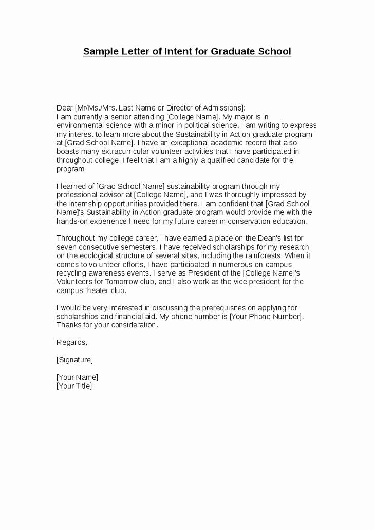 Graduate Letter Of Intent Sample Inspirational Printable Sample Letter Intent Sample form
