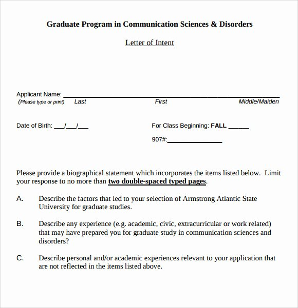 Graduate Letter Of Intent Sample New Letter Of Intent Graduate School 9 Download Documents