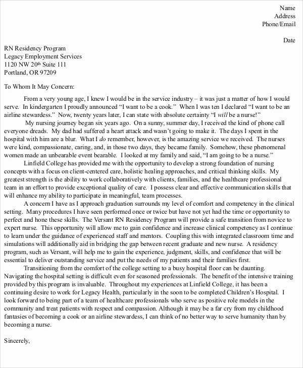 Graduate Nurse Cover Letter Examples Best Of 8 Nursing Cover Letter Example Free Sample Example