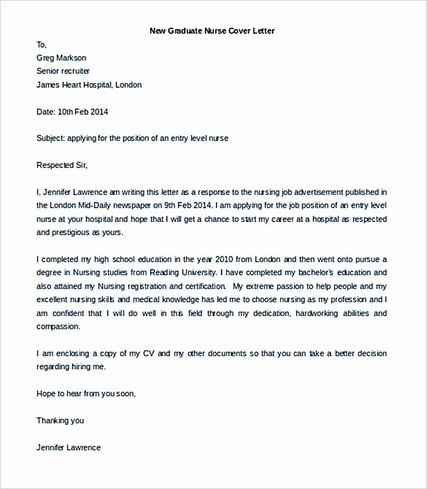 Graduate Nurse Cover Letter Examples Inspirational Job Cover Letter to Secure A Job