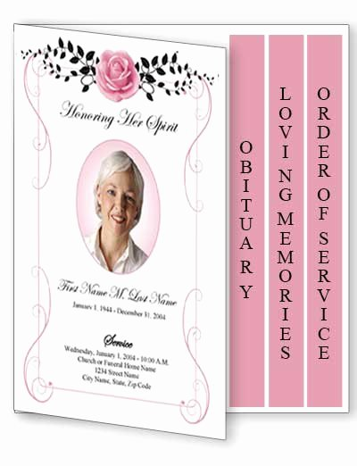 Graduated Fold Program Template Free Beautiful Beloved Vintage Rose Funeral Program Template 4 Page
