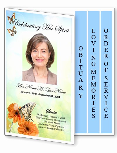 Graduated Fold Program Template Free Best Of Beautiful butterfly Funeral Program Template 4 Page