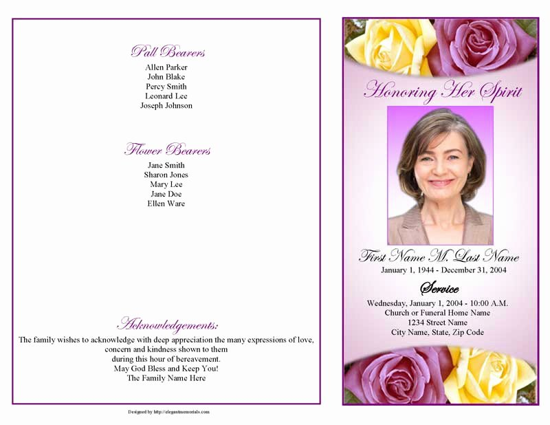Graduated Fold Program Template Free Lovely Lovely Purple Rose Funeral Program Template 4 Page
