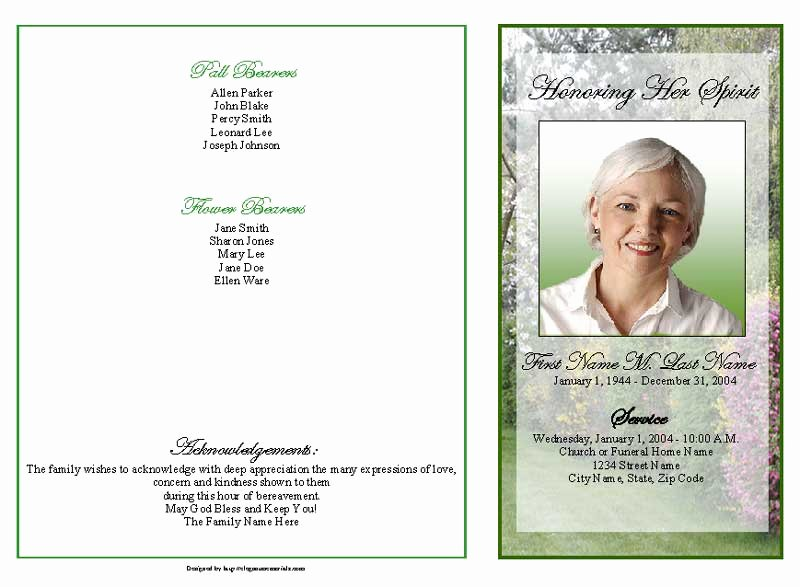 Graduated Fold Program Template Free Lovely Spring Garden Funeral Program Template 4 Page Graduated