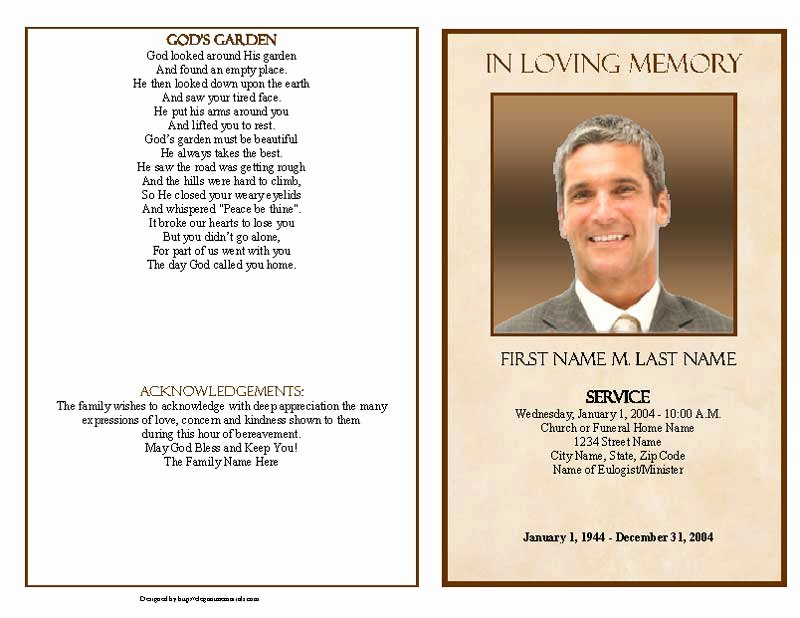 Graduated Fold Program Template Free Lovely Tan Simplicity Funeral Program Template Graduated Fold