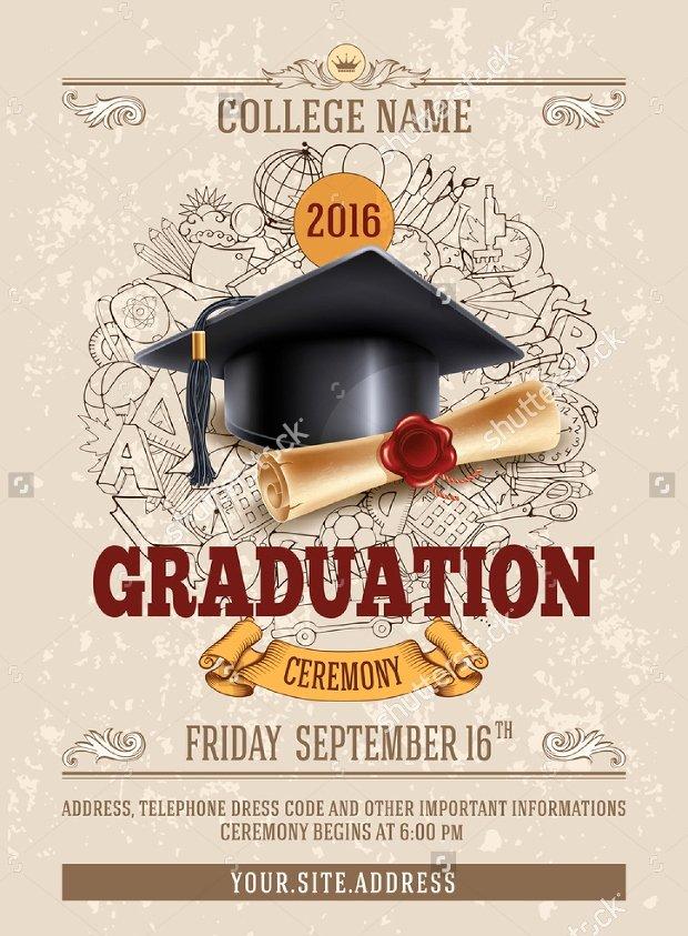Graduation Ceremony Invitation Card Awesome 19 Graduation Party Flyer Templates Printable Psd Ai