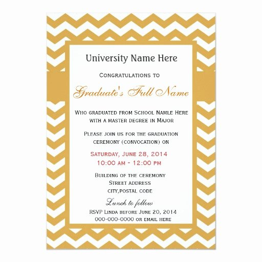Graduation Ceremony Invitation Card Best Of Elegant Golden Chevron Graduation Ceremony Card