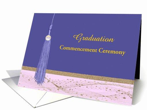 Graduation Ceremony Invitation Card Best Of Invitation Mencement Ceremony 2016 Tassel Purple