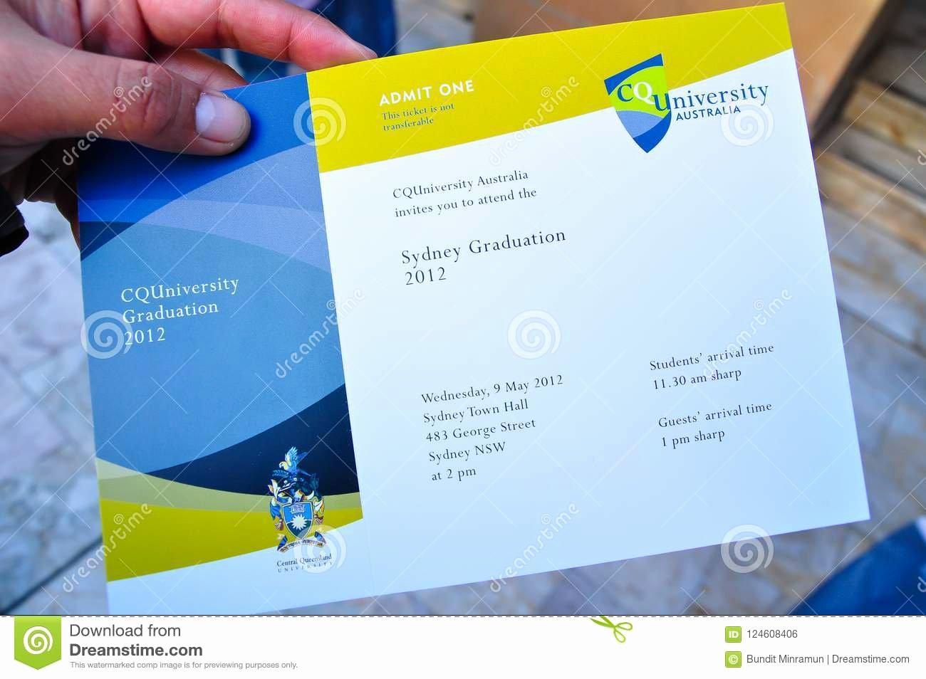 Graduation Ceremony Invitation Card Inspirational Central Queensland University Invitation Card for