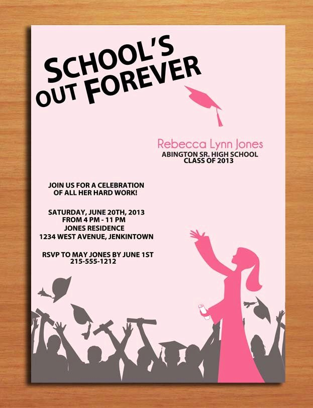 Graduation Invitation Cards Free Awesome School S Out Hat toss Graduation Party Invitation Cards