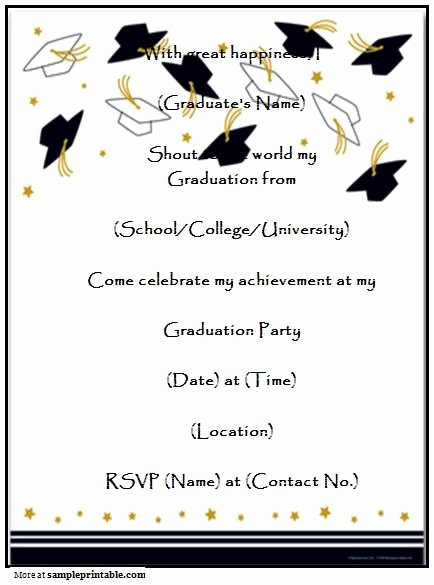 Graduation Invitation Cards Free Beautiful Graduation Party Invitation Templates Free Printable