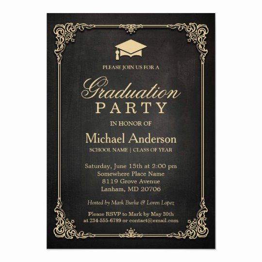 Graduation Invitation Cards Free Best Of Elegant Black Gold Vintage Frame Graduation Party Card