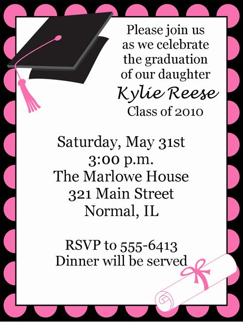 Graduation Invitation Cards Free New Polka Dot Pink Graduation Invitations