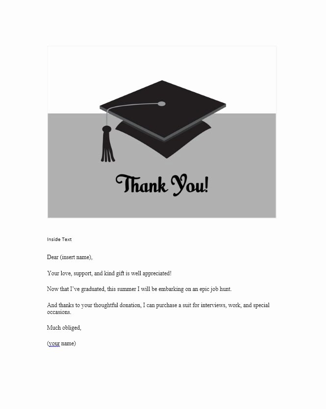 Graduation Present Thank You Note Best Of 30 Free Printable Thank You Card Templates Wedding