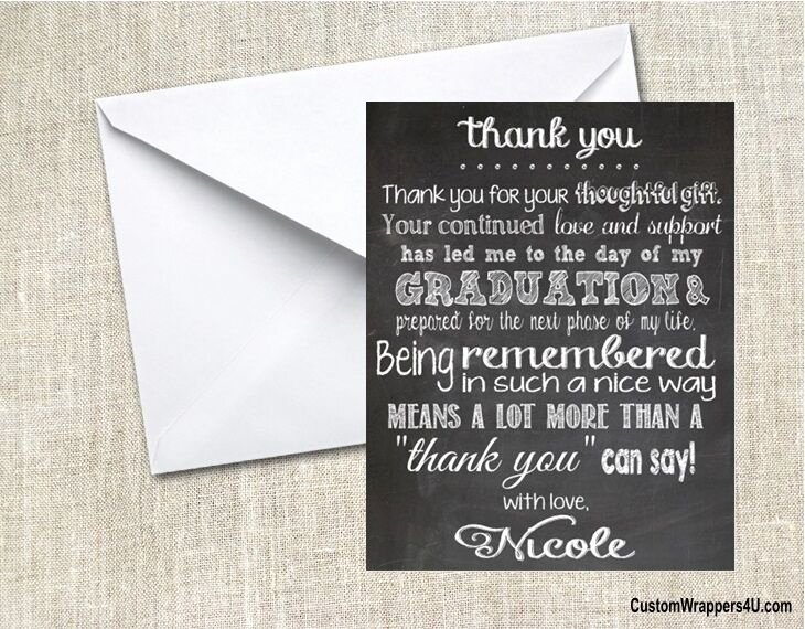 Graduation Present Thank You Note Elegant Graduation Graduate Chalkboard Party Thank You Note Cards