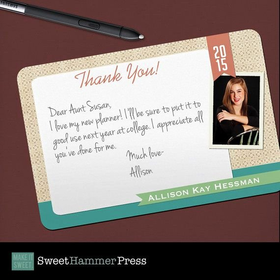 Graduation Present Thank You Note Elegant Set Of 25 Grad Thank You Notes by Sweethammerpress