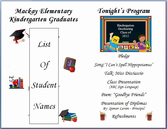 Graduation Program Template Word Lovely Kindergarten Graduation Program