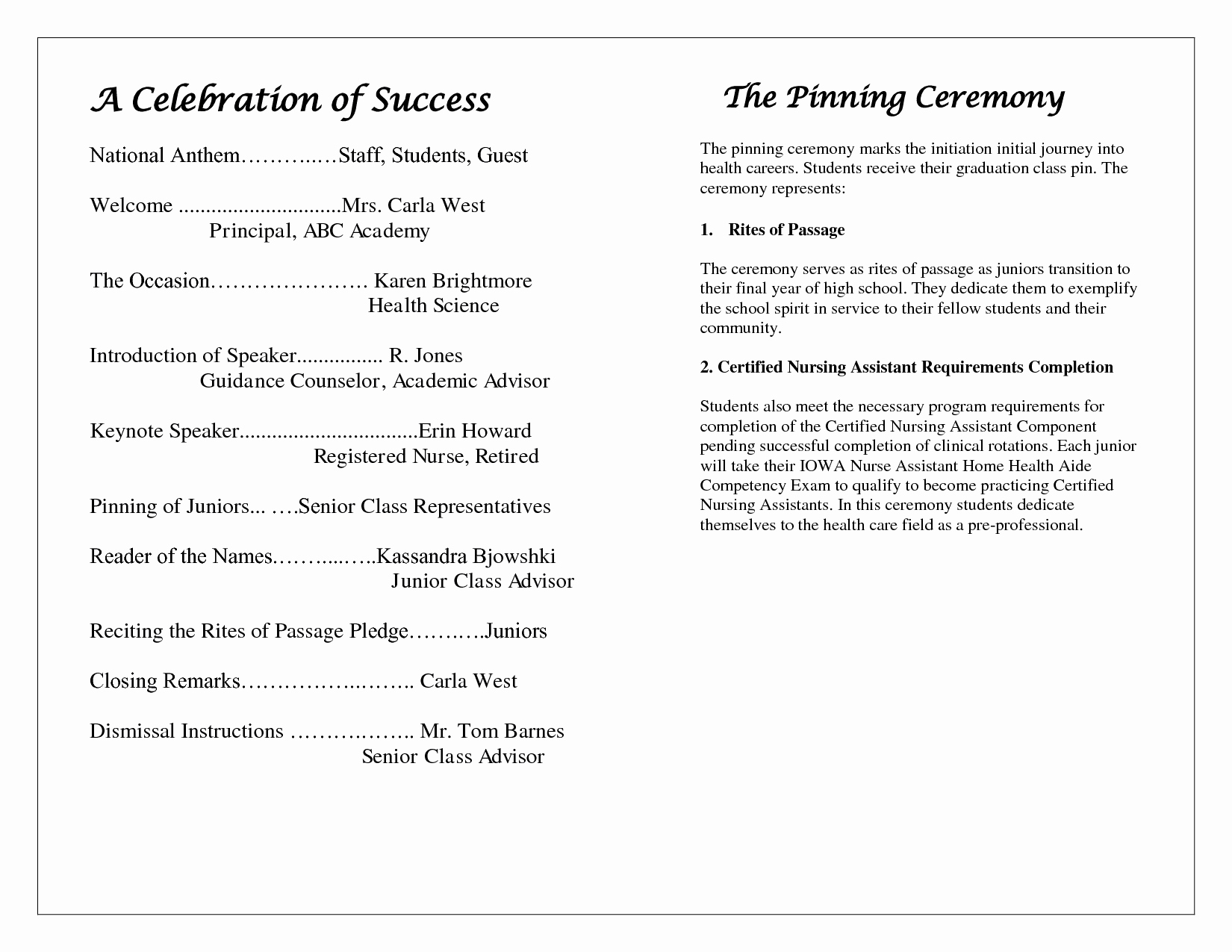 Graduation Program Template Word Luxury Award Ceremony Program Template – Free Download – December