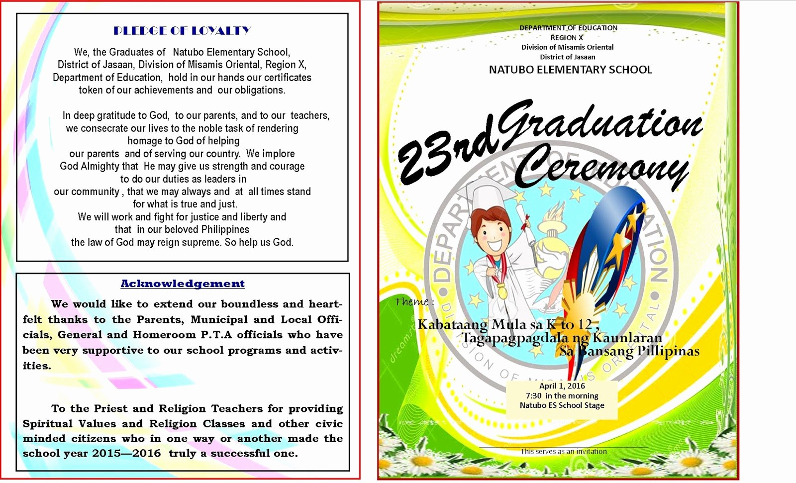 Graduation Program Template Word Unique 2015 2016 Graduation Program New Template Deped Lp S