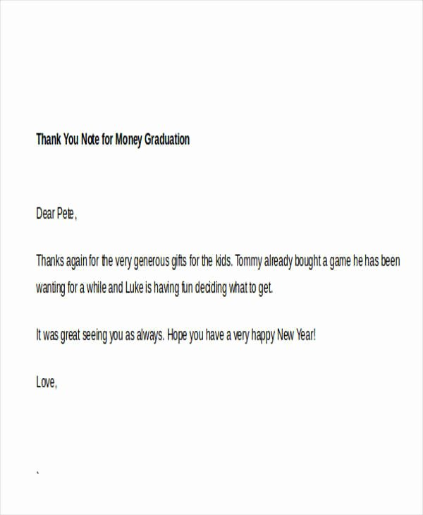 Graduation Thank You Samples Awesome Sample Thank You Note for Money 7 Examples In Word Pdf