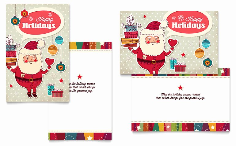Greeting Card Templates for Word Awesome Retro Santa Greeting Card Template Word & Publisher