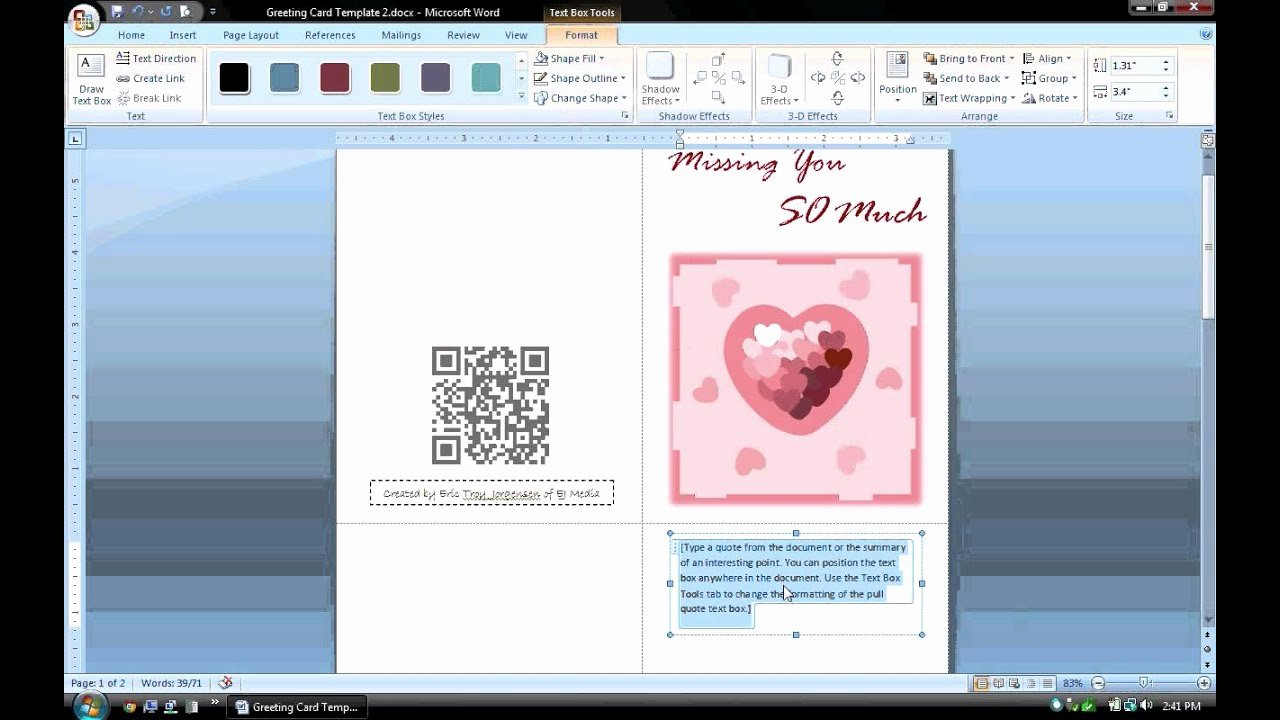Greeting Card Templates for Word Fresh Ms Word Tutorial Part 1 Greeting Card Template
