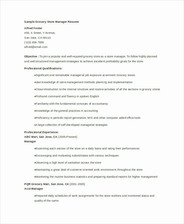 Grocery Store Manager Resume Beautiful Store Manager Resume 9 Free Pdf Word Documents