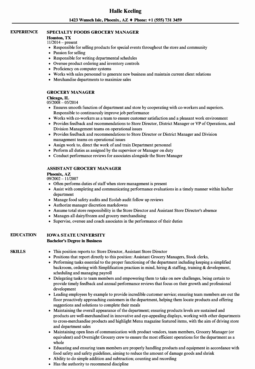 Grocery Store Manager Resume Best Of Grocery Manager Resume Samples