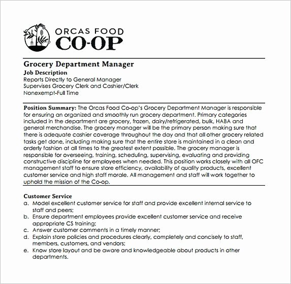 Grocery Store Manager Resume Elegant Free Grocery Store Manager Job Description assistant