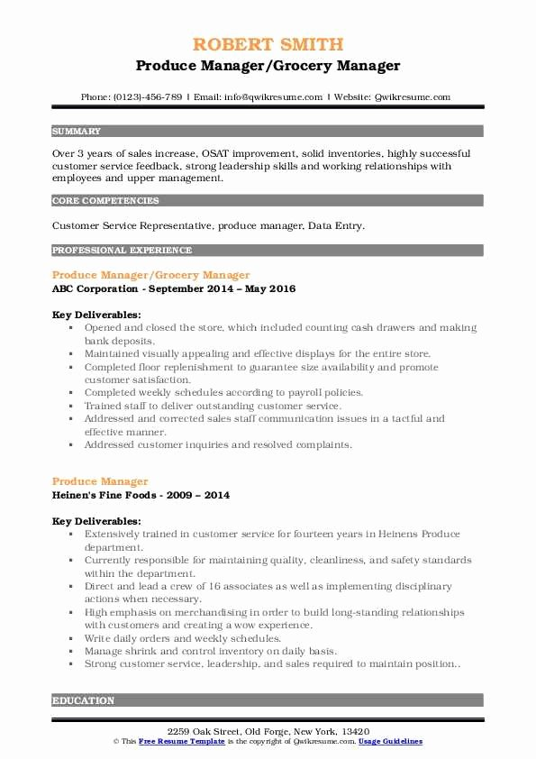 Grocery Store Manager Resume Fresh Produce Manager Resume Samples