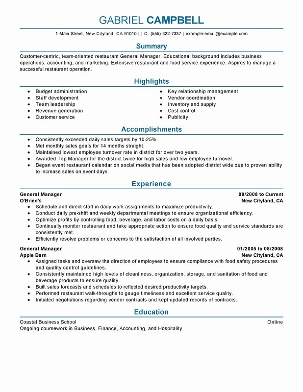Grocery Store Manager Resume Fresh Restaurant General Manager Resume Examples Free to Try
