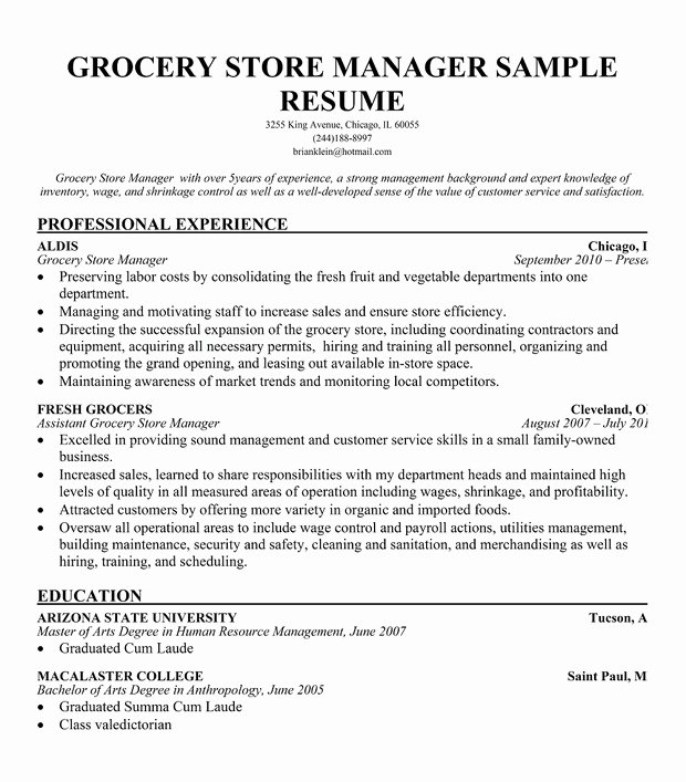 Grocery Store Manager Resume Lovely the Document Co
