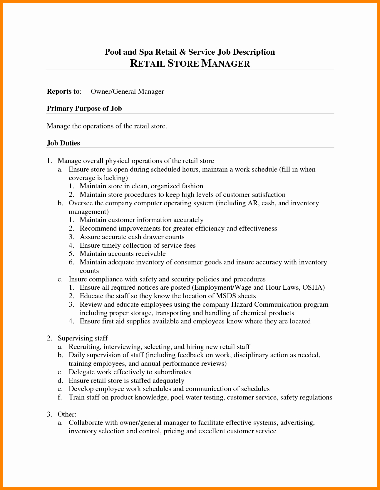Grocery Store Manager Resume Unique Grocery Store Manager Job Description Example