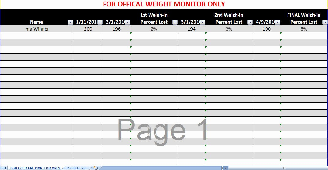 Group Weight Loss Tracker Awesome Biggest Loser Spreadsheet