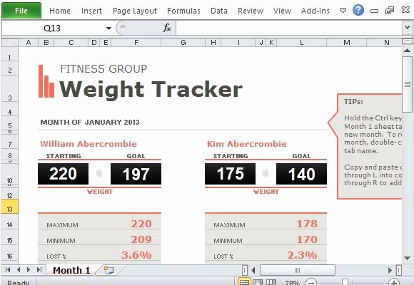 Group Weight Loss Tracker Fresh Group Weight Loss Tracker Template for Excel