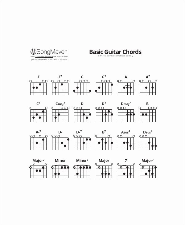 Guitar Chords Chart Basic Lovely Beginners Guitar Chords Chart Template 5 Free Pdf