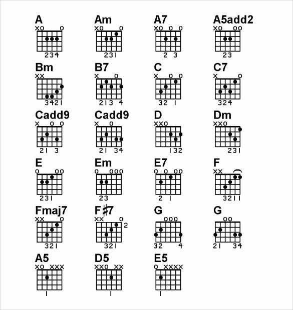 Guitar Chords Chart Basic New Sample Basic Guitar Chord Chart 7 Documents In Pdf